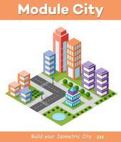 Gratte-ciel urbain isométrique