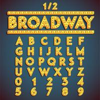'Broadway' fontset with lamps, vector illustration