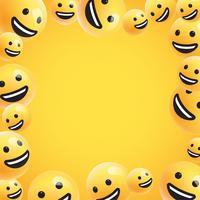 Grupo de altos emoticonos amarillos detallados, ilustración vectorial