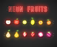 Conjunto de frutas de neón realistas con consola, ilustración vectorial