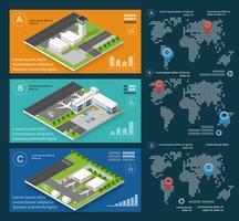 Infographics of transportation flights airport