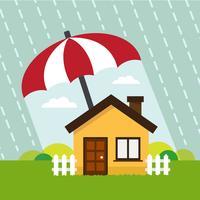 Haus unter Schutz des Regenschirms