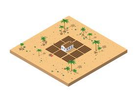 Vue isométrique d'une ferme