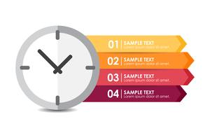 Clock infographic vector