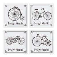 Retro vintage bicycle pattern vector