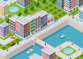 Isometric illustration of a city waterfront