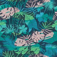 Sin fisuras patrón exótico con plantas tropicales. Vector de fondo