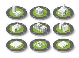 Isometric set city urban