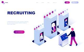 Concetto isometrico moderno design piatto di reclutamento