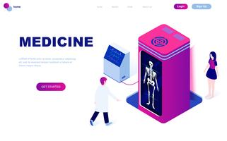 Diseño plano moderno concepto isométrico de Medicina y Salud.