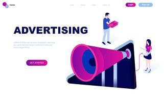 Diseño plano moderno concepto isométrico de Publicidad y Promoción.
