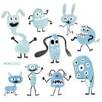 akvarell söta monster inställda