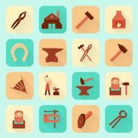 Svartsmed ikoner uppsättning