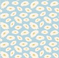 seamless vintage pattern hand drawn white daisy flower