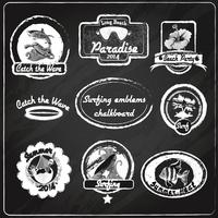 Surfen emblemen schoolbord
