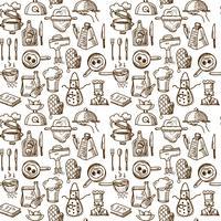 Matlagning ikoner sömlösa mönster