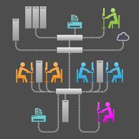 Illustration vectorielle d'infrastructure de système de communication réseau