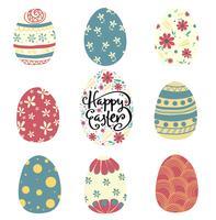 conjunto de patrón de colores vector de huevo de Pascua plana