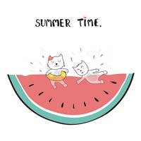 cats swimming in watermelon doodle hand drawing vector