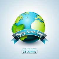 Earth Day illustration with Planet and Green Leaf. World map background on april 22 environment concept.