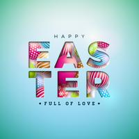 Happy Easter Illustration with Colorful Painted Egg in Cutout Letter on Blue Background