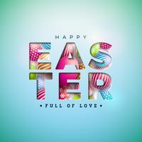 Ejemplo feliz de Pascua con el huevo pintado colorido en letra del recorte en fondo azul