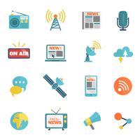 Ícones planas de mídia