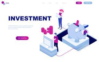 Diseño plano moderno concepto isométrico de inversión empresarial.
