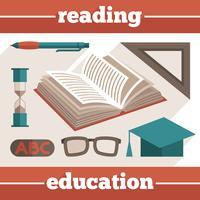 Éducation, lecture, icônes, ensemble