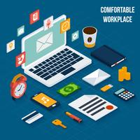 Workplace elements isometric vector