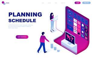 Concept isométrique de design plat moderne de planification