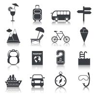 Ensemble d'icônes de voyage noir