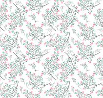 pink flower green leaves seamless pattern
