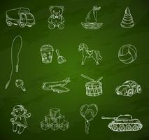 Speelgoed schoolbord schets set