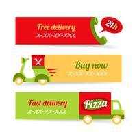 Pizza snabb leverans banners