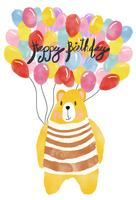 watercolour happy birthday card, bear holding colourful balloons