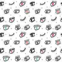 eye lashes doodle seamless pattern