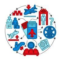 Luchthaven pictogrammen concept