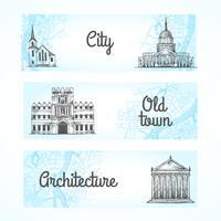 Conjunto de pancartas con edificios.