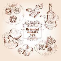 Oriental sweets sketch set vector