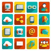 Iconos de redes sociales plana