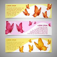 Butterflies banners set