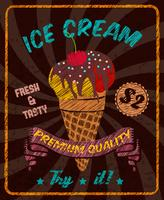 Chocolate ice-cream with cherry on poster