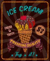 Chocolade-ijs met kers op poster