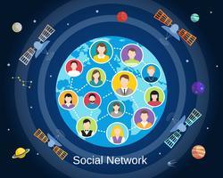 Concepto de red social global vector