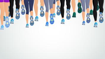 Grupo de pessoas correndo as pernas