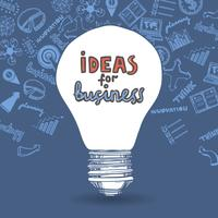 Lightbulb and drawing business strategy