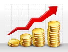 Monedas con flecha de éxito