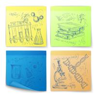 Science sketch stickers vector