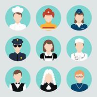 Set di icone piane di avatar